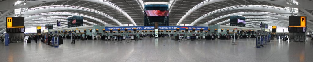 panoramic image of airport terminal