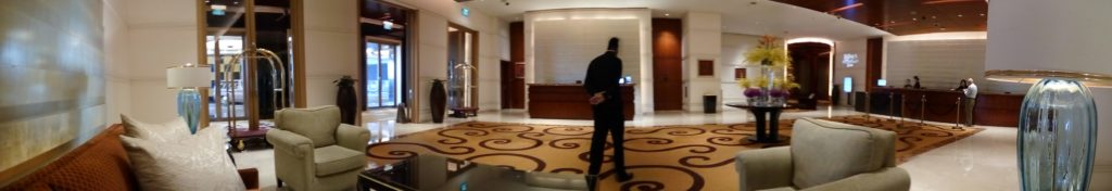 panoramic image of hotel lobby