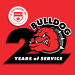 bulldog fire and security 20th anniversary logo